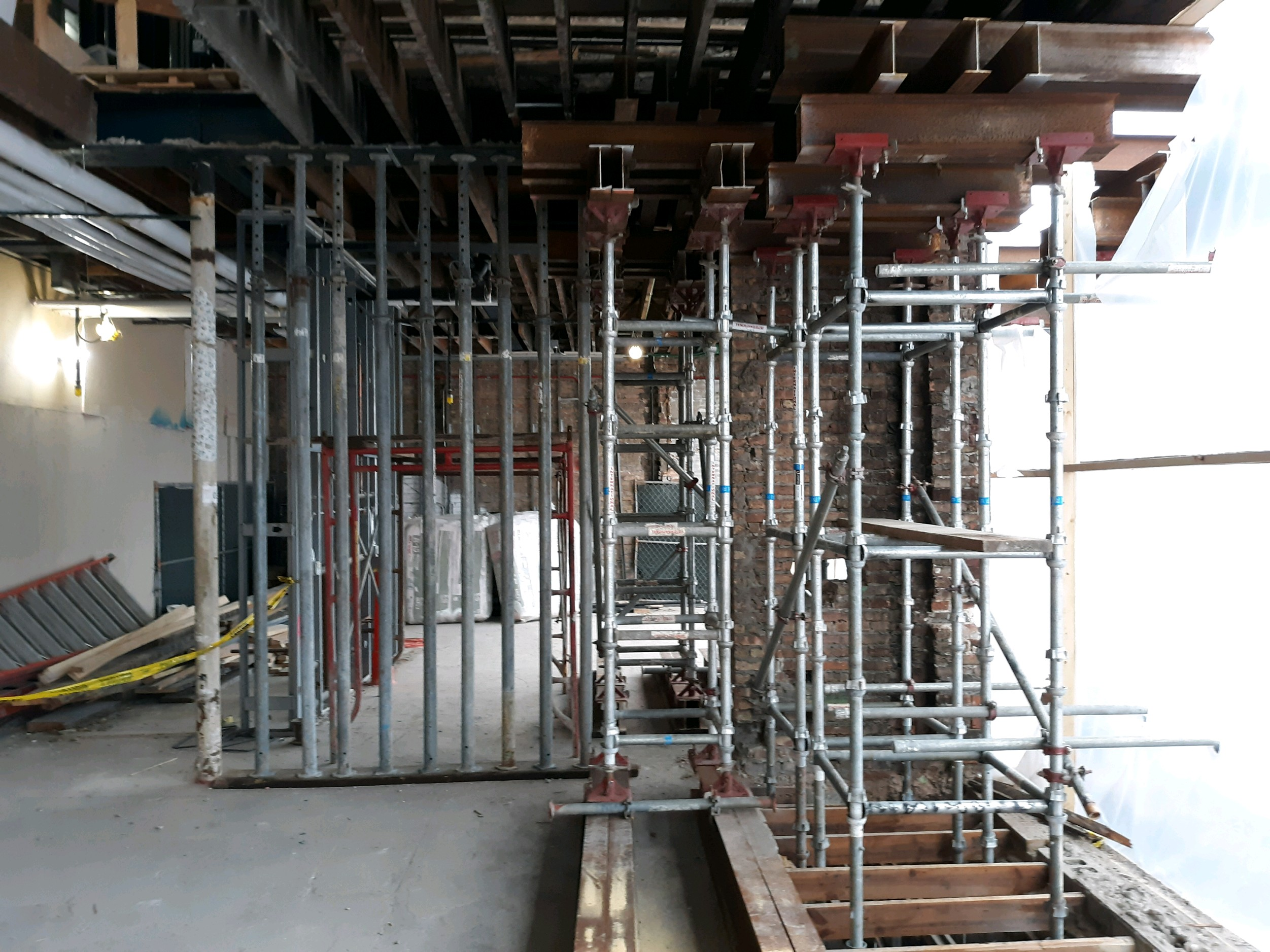 scaffolding system shown in use with an old brick building restoration - International Equipment