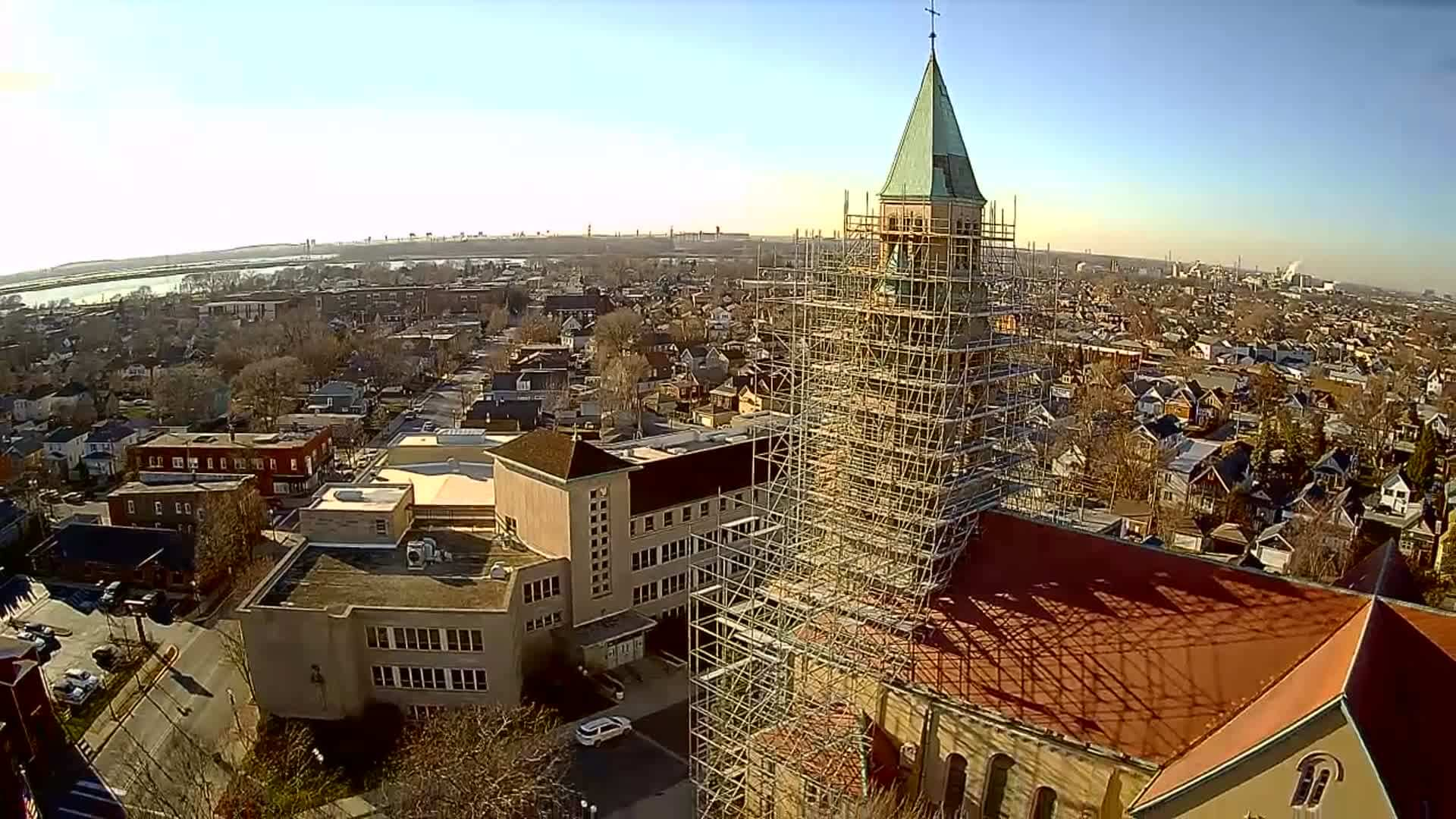 church restoration with scaffolding from International Equipment - close in view, drone footage